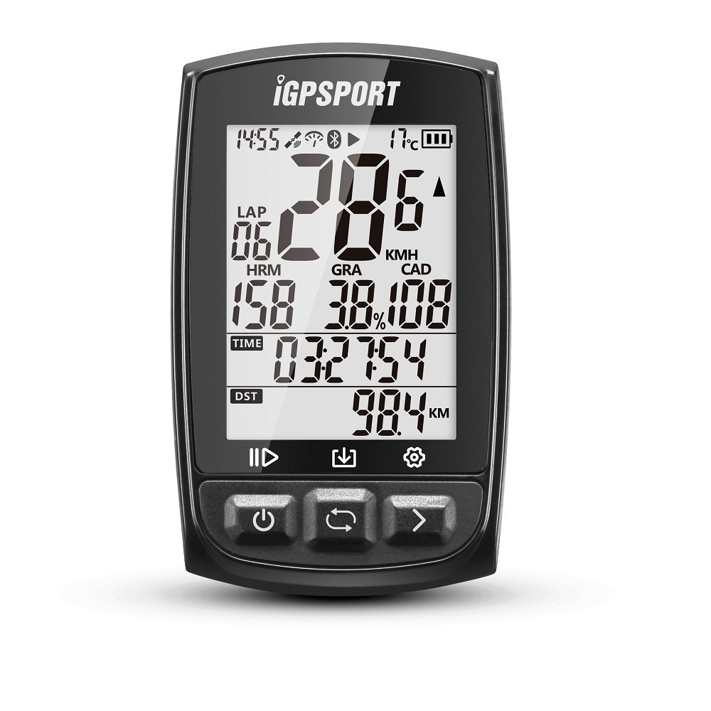 GPS Bike Computer Big Screen with ANT+ Function iGPSPORT iGS50E Cycle Computer Support Heart Rate Monitor and Speed Cadence Sensor Connection - Black
