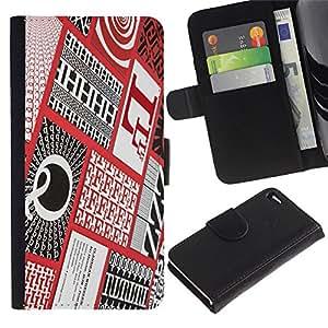 Cartas Caligrafía roja a cuadros Patter- la tarjeta de Crédito Slots PU Funda de cuero Monedero caso cubierta de piel Para Apple Apple iPhone 4 / iPhone 4S