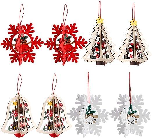 3D Decoración del árbol de Navidad, 8 Pack Adornos de árbol de ...