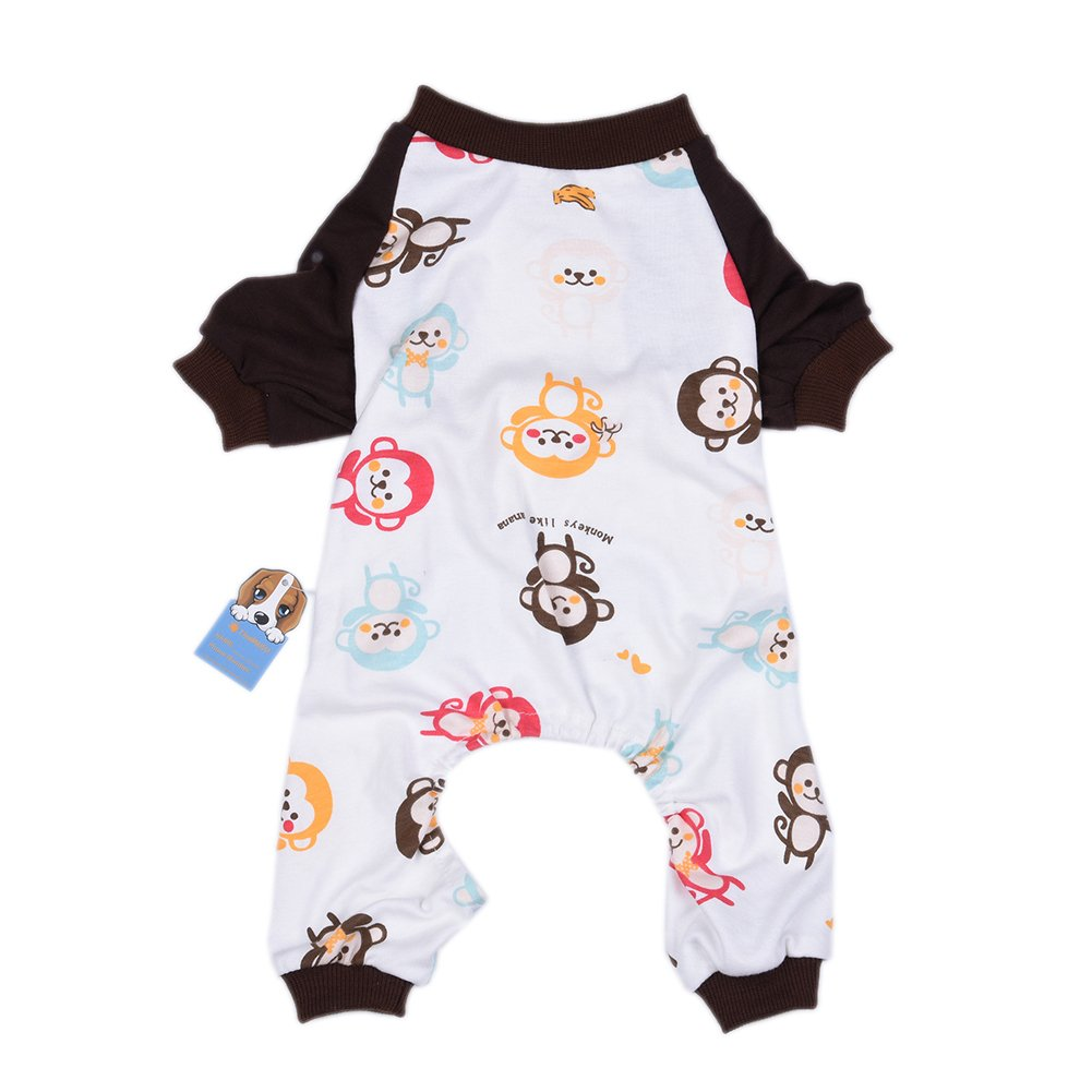 Oshide Singe Mignon Animal Vêtements pour Chien Pyjama Chemise Coton Doux Jumpsuit, XS - XL