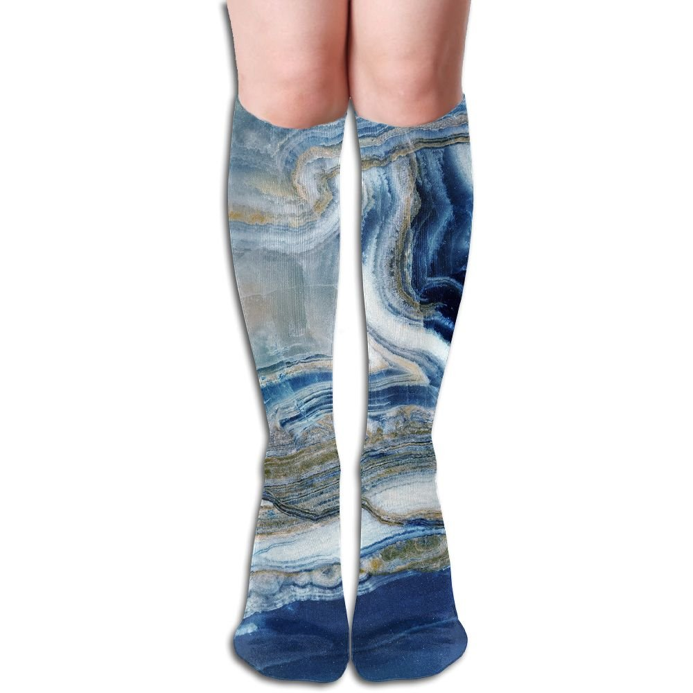 FYW Background Unique Texture Of Natural Stone Marble Onyx Mens & Womens Knee High Socks For Running Edema Diabetic
