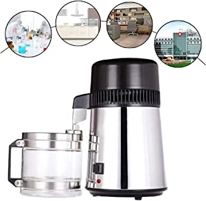 Fencia 4L Water Distiller, Countertop Stainless Steel Internal Pure Water Filter Distilled Water Distillation Purifier Machine for Home/Medical/Dental/Lab Use
