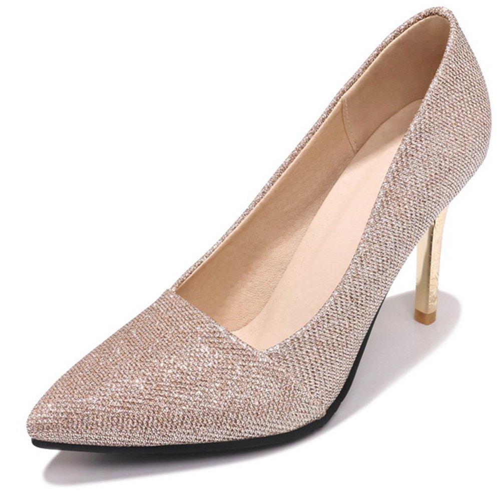 IDIFU Women's Elegant Slip On Glitter Pointed Toe High Stiletto Heel Pumps Shoes (Gold, 11.5 B(M) US)