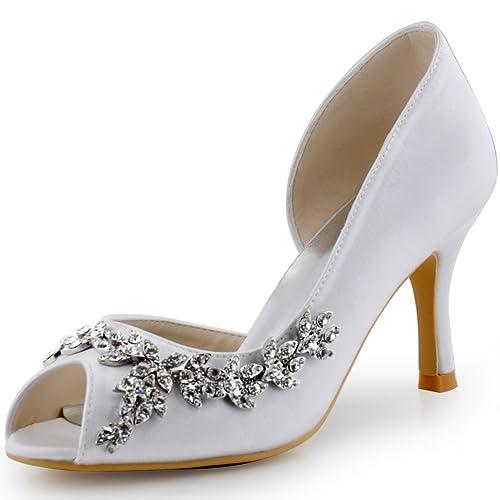 3c09ba9d ElegantPark HP1542 Mujer Fiesta Zapatillas Peep Toe D'orsay Rhinestone Tacón  De Aguja Satén Zapatos