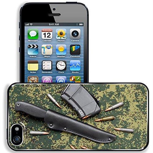 Black Aluminum Leather Sheath - Liili Apple iPhone 5 iPhone 5S Aluminum Backplate Bumper Snap iphone5/5s Case iPhone6 ID: 25121580 Military in black leather sheath and cartridges on digital camouflage backround