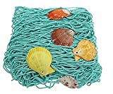 Mediterranean Style Decorative Fish Netting with Sea Shells Wall Decoration Retro Photography Props Theme Party Decorations, Marine Green