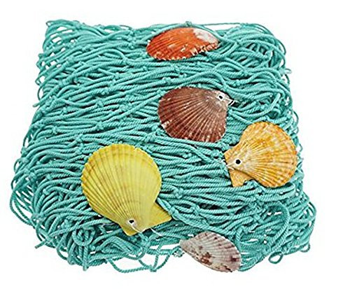 Mediterranean Style Decorative Fish Netting with Sea Shells Wall Decoration Retro Photography Props Theme Party Decorations, Marine Green by Passion Waner