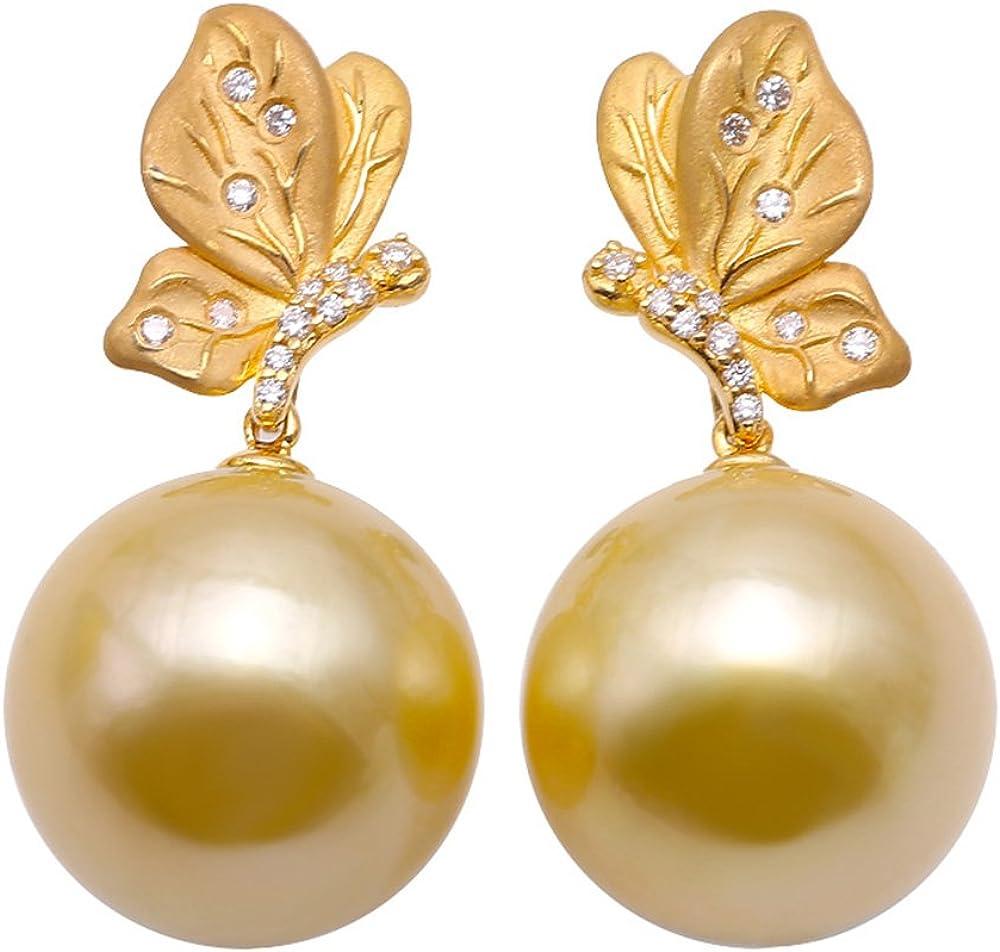 JYX Pendientes de perlas cultivadas en oro de 18 quilates y oro de 15 mm con diamantes brillantes