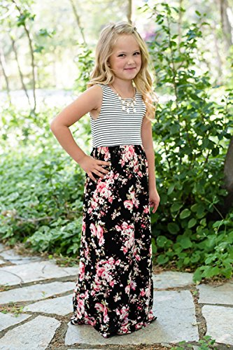 Women amp; Girl's Black and Floral Umeko Dress Mommy Matching Dress Me Maxi Dresses Set SxzcfqwA