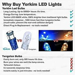 194 LED Light bulb, Yorkim 6th Generation, Non-Polarity,12V Lights for 168, 2825,T10 5-SMD LED Bulb (Pack of 10)- Blue