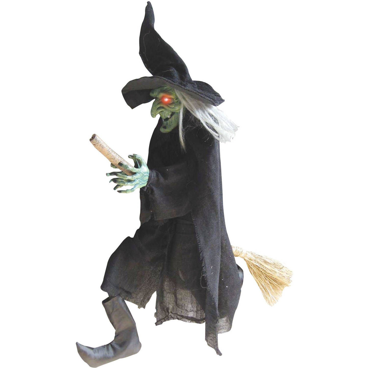 Light Up Animated Flying Witch Halloween Decorations - Flashing Eyes, Kicking Legs and Spooky Sounds - 3 ft tall