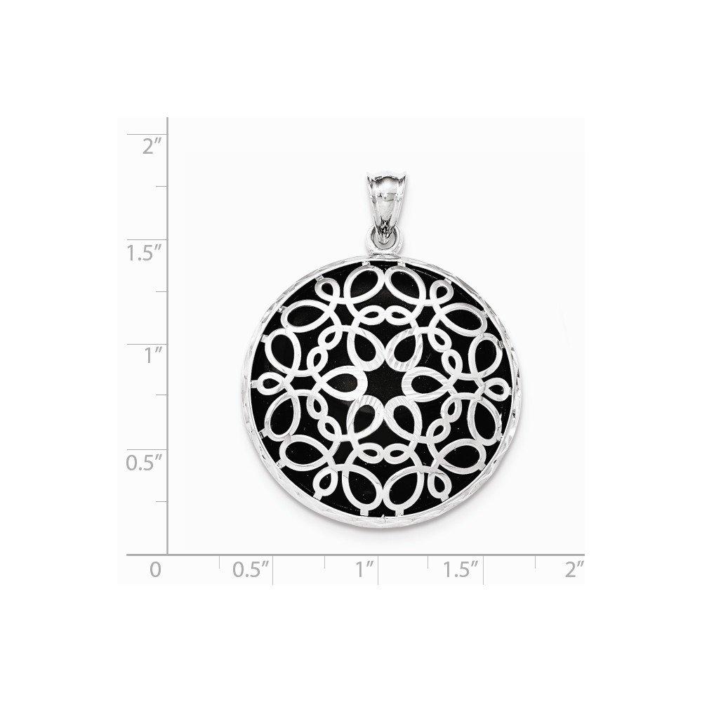 Jewel Tie Sterling Silver Diamond-Cut Simulated Onyx Pendant