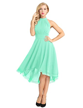 TiaoBug Womens Halter Neck Sleeveless Short Bridesmaid Dresses High Low Prom Homecoming Dress Chiffon Mint Green
