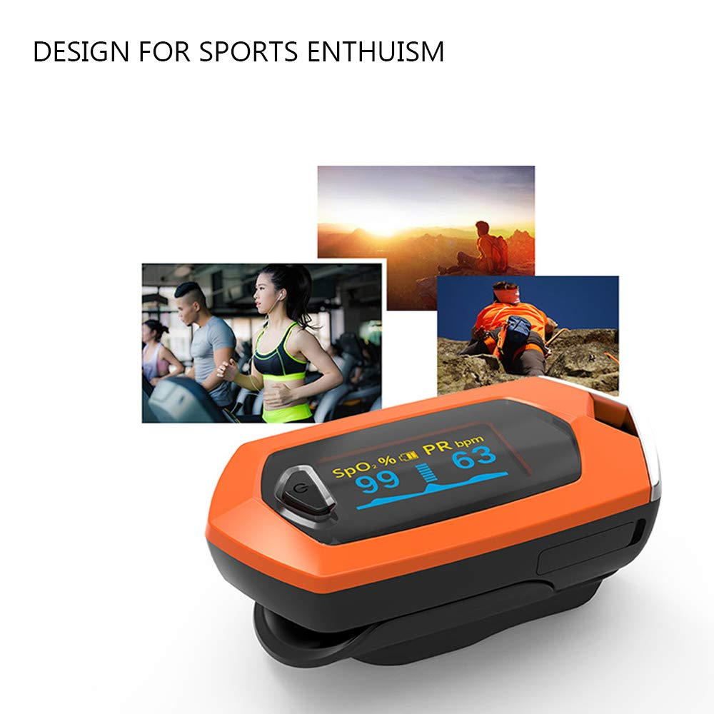 Rechargeable Fingertip Pulse Oximeter SpO2 Pulse Sensor Blood Oxygen Saturation Monitor with Lanyard Lithium Battery Pulse Oximeter