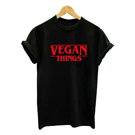 Wefchogvr Las Camisetas de Las Cosas Veganas de Las Mujeres Ponen Letras a Las Camisas vegetarianas Camisetas de Manga Corta: Amazon.es: Ropa y accesorios