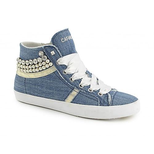 Cafè Noir UPM803 - Zapatillas para mujer (tela vaquera, con cremallera, cuña interior), color azul: Amazon.es: Zapatos y complementos