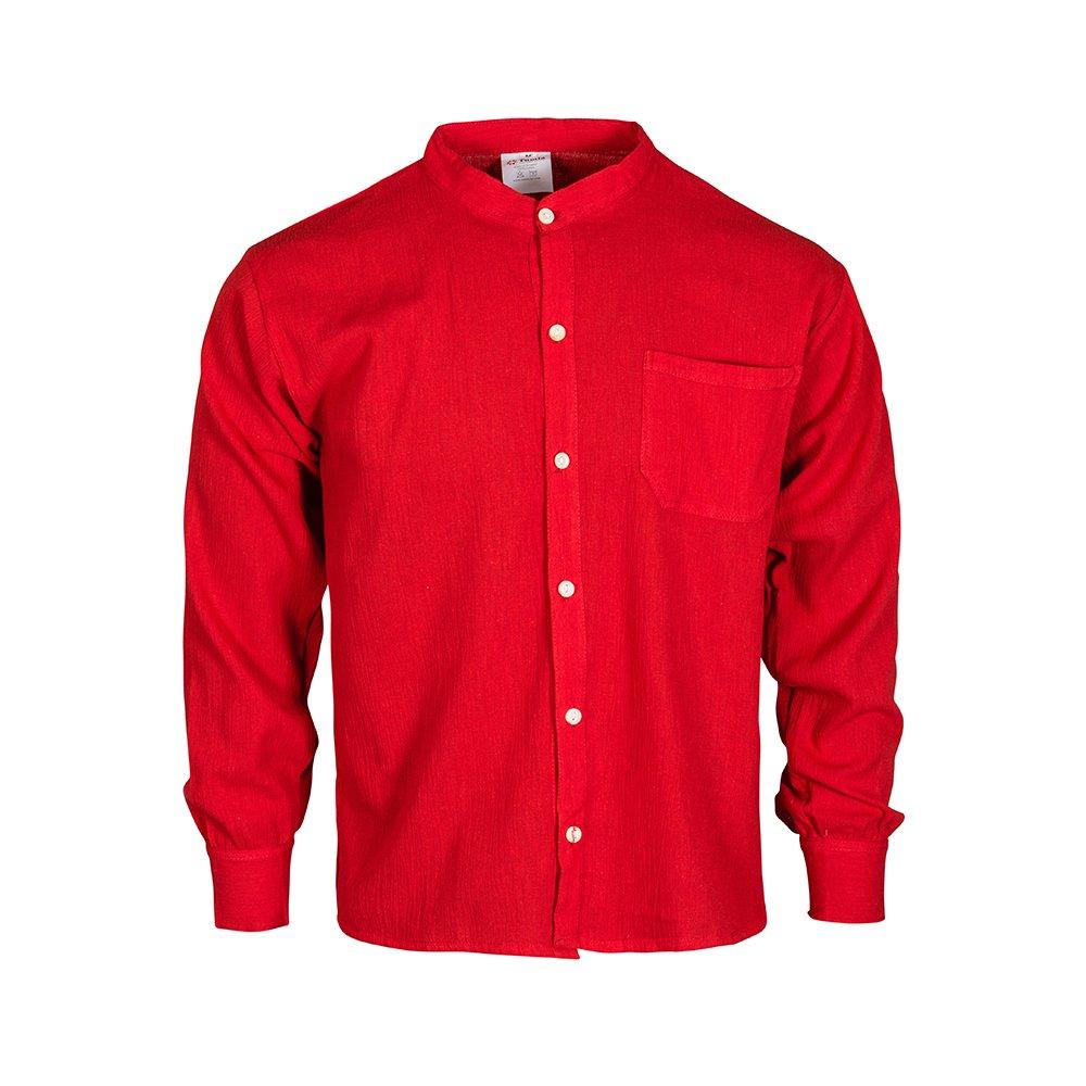 Tumia LAC Cotton summer grandad collar shirt ethically produced, long sleeves.