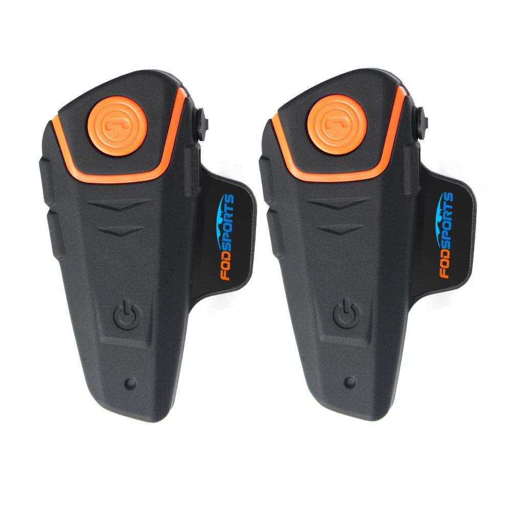 Motorcycle Bluetooth Headset,Fodsports BT-S2 1000M Helmet Communication Systems Bluetooth Intercom Headphones for Motorbike&Ski/FM Radio/GPS( Handsfree Voice Command,Dual of soft cable)