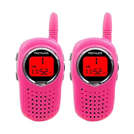 ASHATA Walkie Talkies para Niños con Pantalla LED Retroiluminada y Linterna Brillante,Reloj Digital,