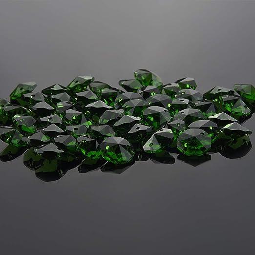 50PCS Crystal Glass Lighting Lamp Part Octagon Prisms Beads Craft  Wedding Decor