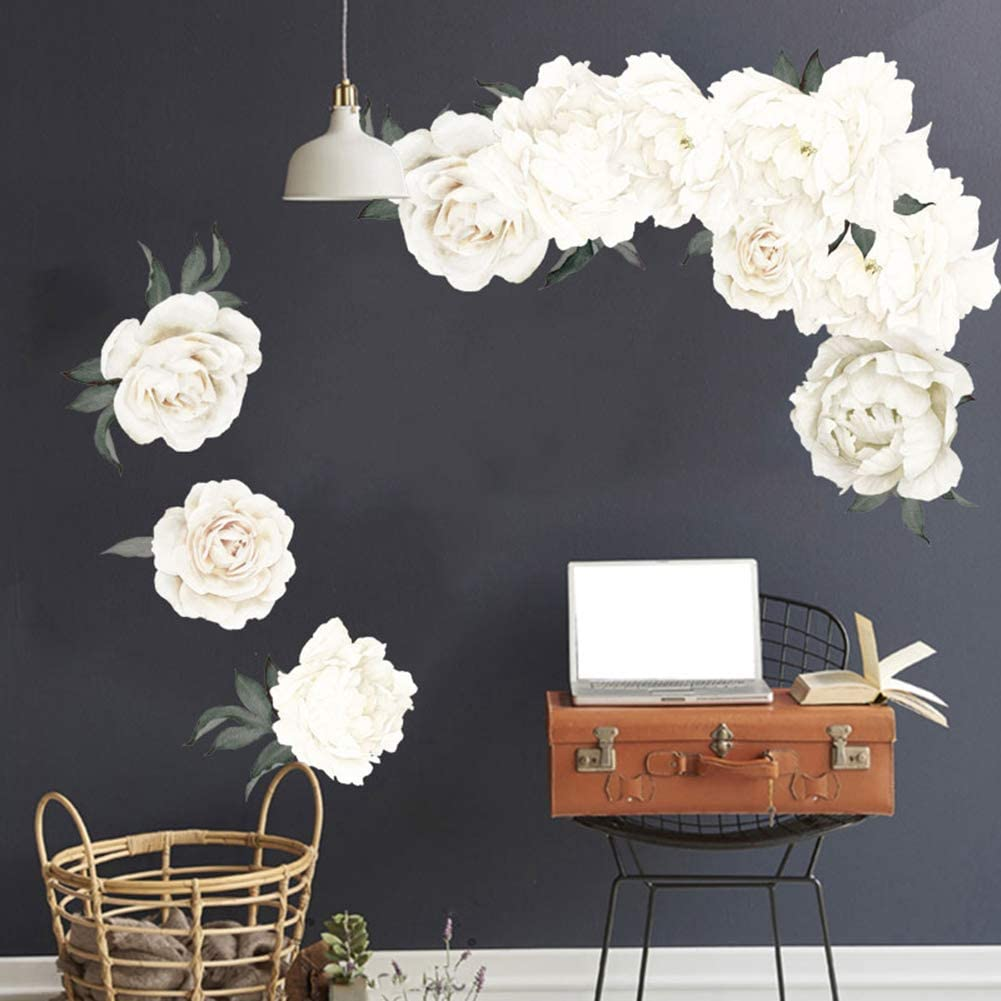 PandaLily Wall Stickers /& Murals Home D/écor 3D Peony Flower Wall Sticker TV Background Bedroom Wallpaper Mural Decal Decor