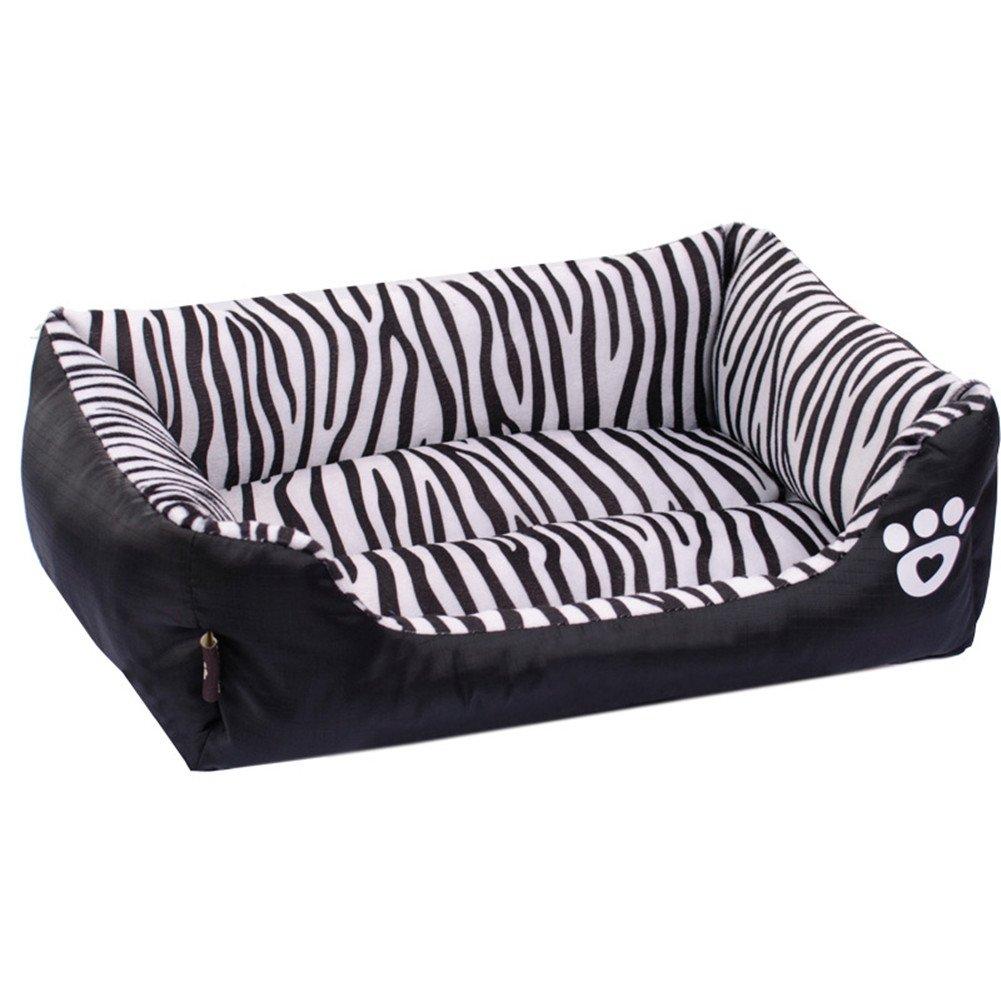Black S Pet dog Puppy Soft Black Zebra Striped Patterns Bed House Square Durable Dog Indoor Sofa