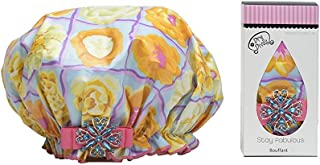 product image for Dry Divas Designer Shower Cap For Women - Washable, Reusable - Large Bouffant Cap With Vintage Jeweled Brooch (U Glo Girl)