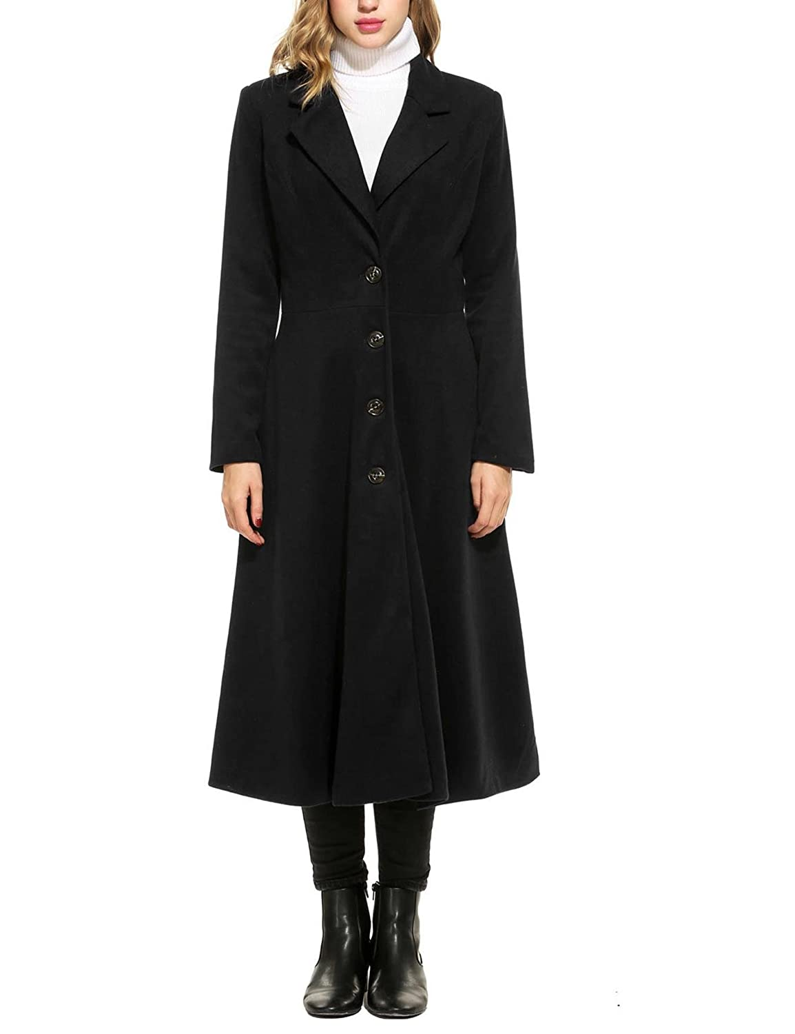 1940s Coats & Jackets Fashion History Mofavor Women Long Trench Coat Single Breasted Casual Swing Coat Overcoat Wool Pea Coat $55.89 AT vintagedancer.com