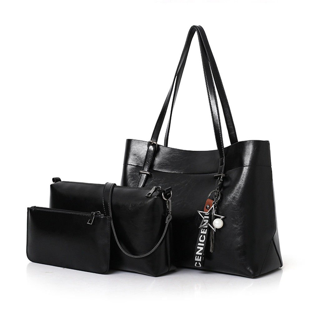 Mother Bag Fashion Back To Ancient Large Capacity Single Shoulder Bag,Black,Three Piece Set