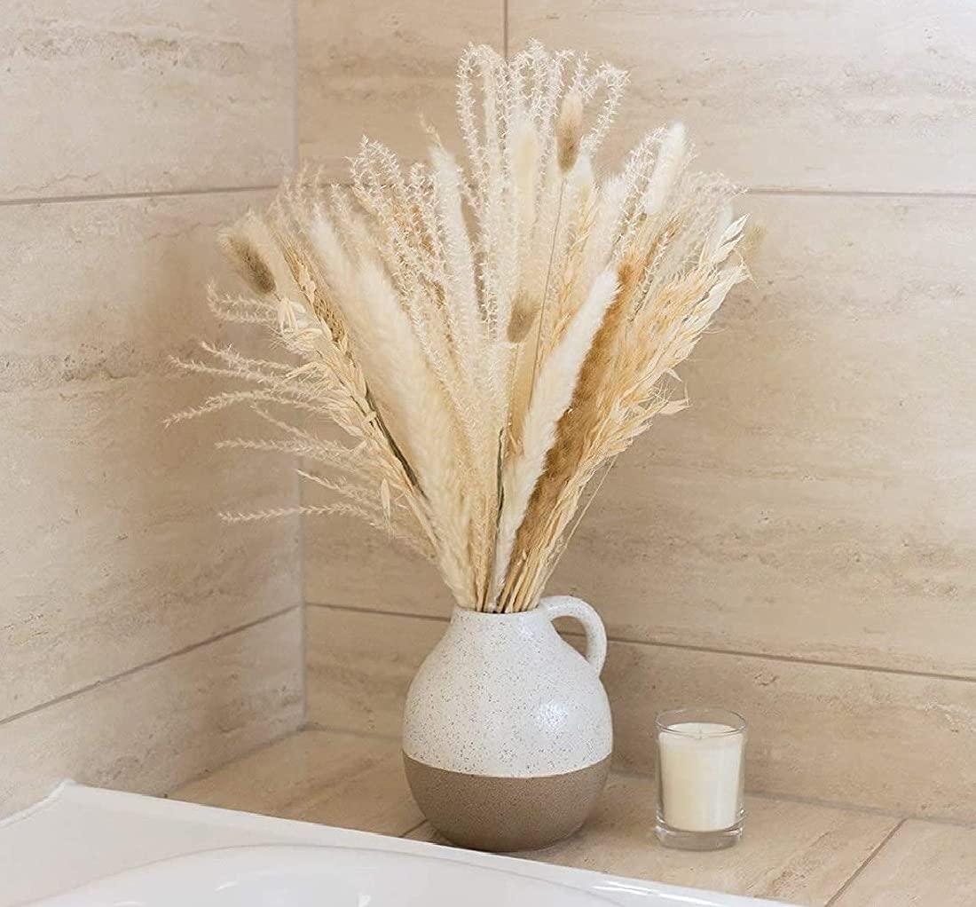 Naturally Dried Pampas Grass Bouquet for Home Decor and Wedding Decorations (White and Natural) - 17 inch