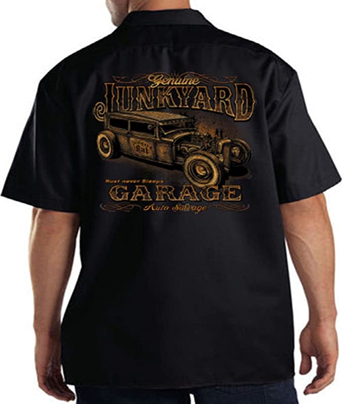 Mens Vintage Shirts – Casual, Dress, T-shirts, Polos Genuine Junkyard Garage Hot Rod Mens Work Shirt Junkyard Rat Tee $29.99 AT vintagedancer.com