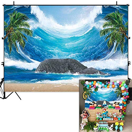(Allenjoy 7x5ft Summer Tropical Sea Wave Backdrop for Photography Kids Birthday Luau Party Decoration Banner Palm Trees Rock Seaside Hawaii Photo Background Photobooth Props)