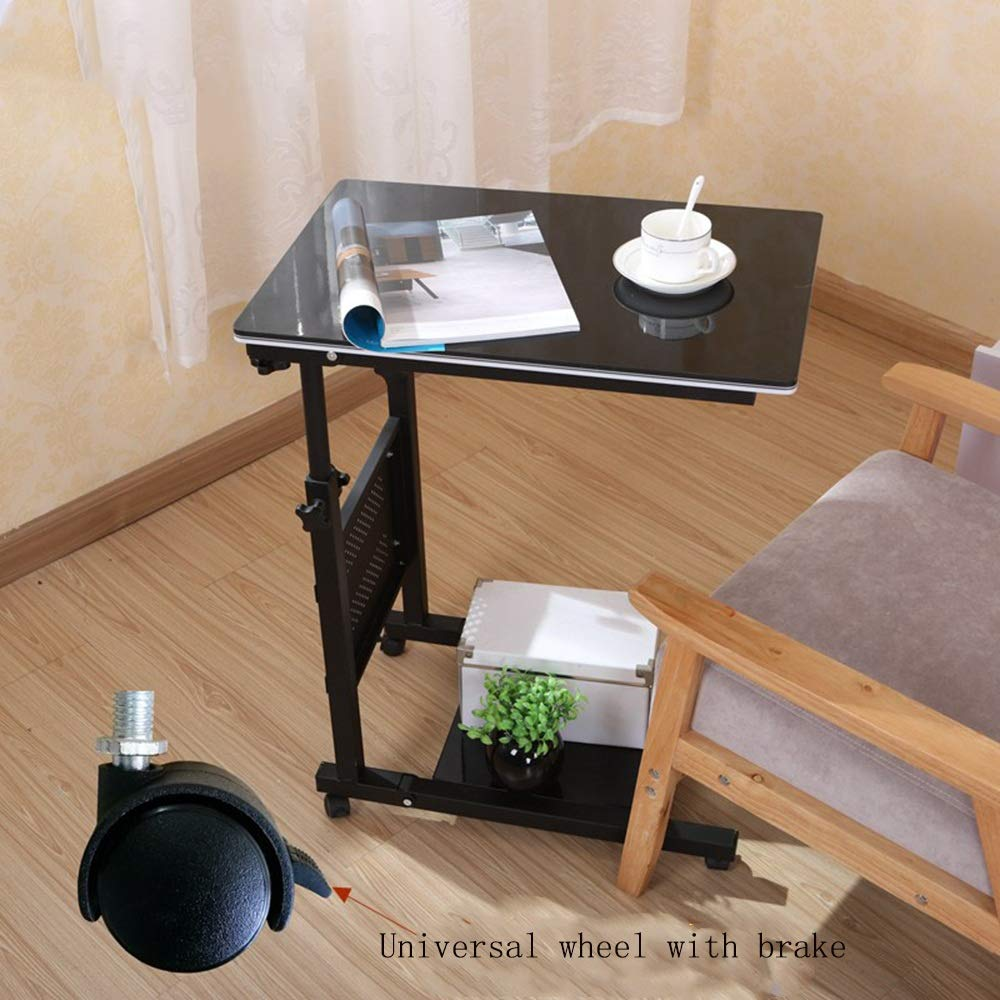 Amazon.com: Yxsd Overbed Bedside Table with Wheels Laptop Stand Rolling Bed Tray Adjustable Hospital Bed Table (Color : Black Print): Kitchen & Dining