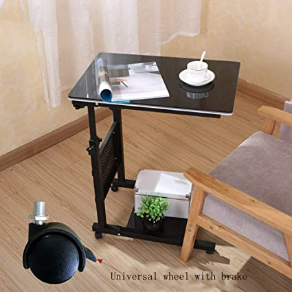 Amazon Com Overbed Bedside Table Wheels Laptop Stand Rolling Bed