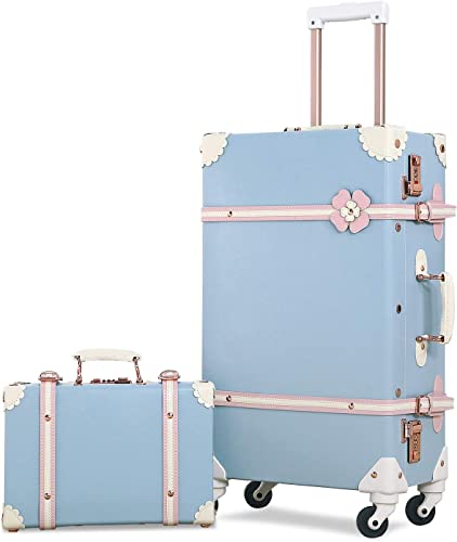 Mosslanda Retro Luggage Set 24 inch Vintage Spinner Trolley Suitcase with 12 inch Train Case for Women