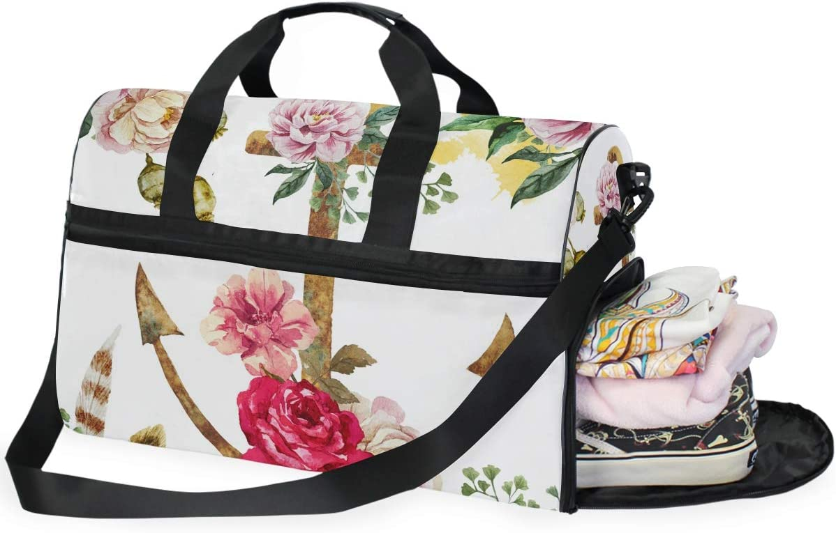 TFONE Vintage Anchor Flower Duffel Bag Sports Gym Weekend Bags with Shoe Compartmen