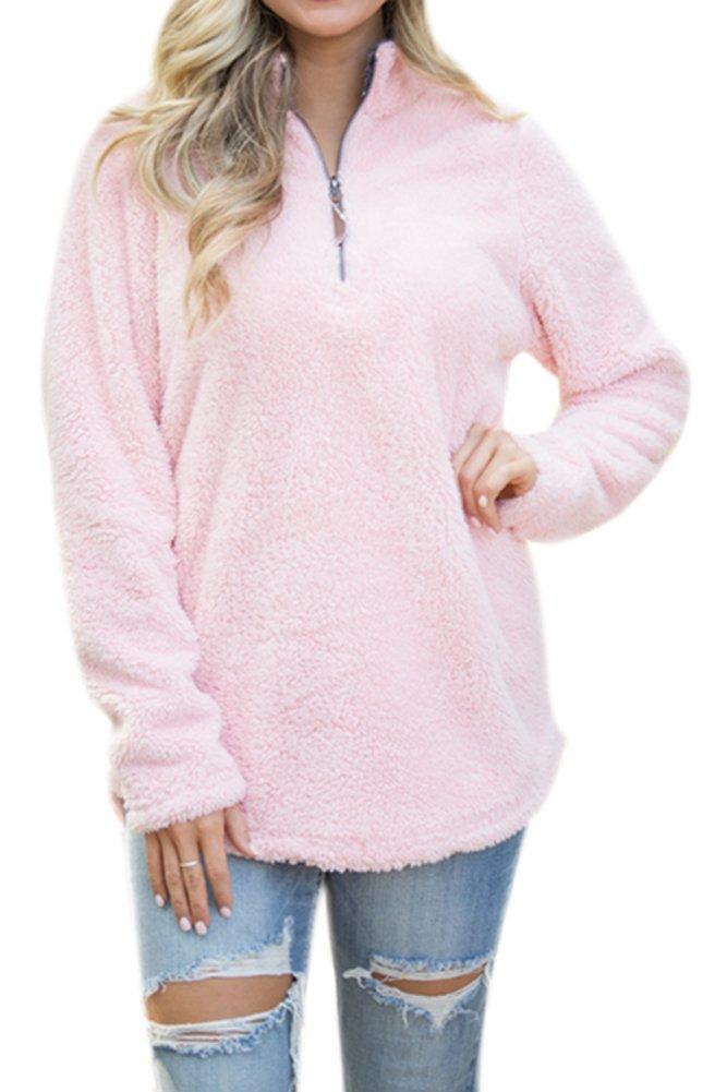 Women's Casual Fleece Solid Pullover Top Zip Outwear Sherpa Sweatshirt with Pockets Pink XL