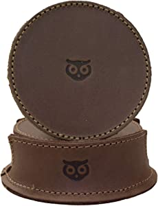 Hide & Drink, Durable Thick Leather Owl Coasters with Stitching (6-Pack) Wood Furniture, Coffee & Kitchen Table, Home & Office Essentials Handmade Includes 101 Year Warranty :: Bourbon Brown