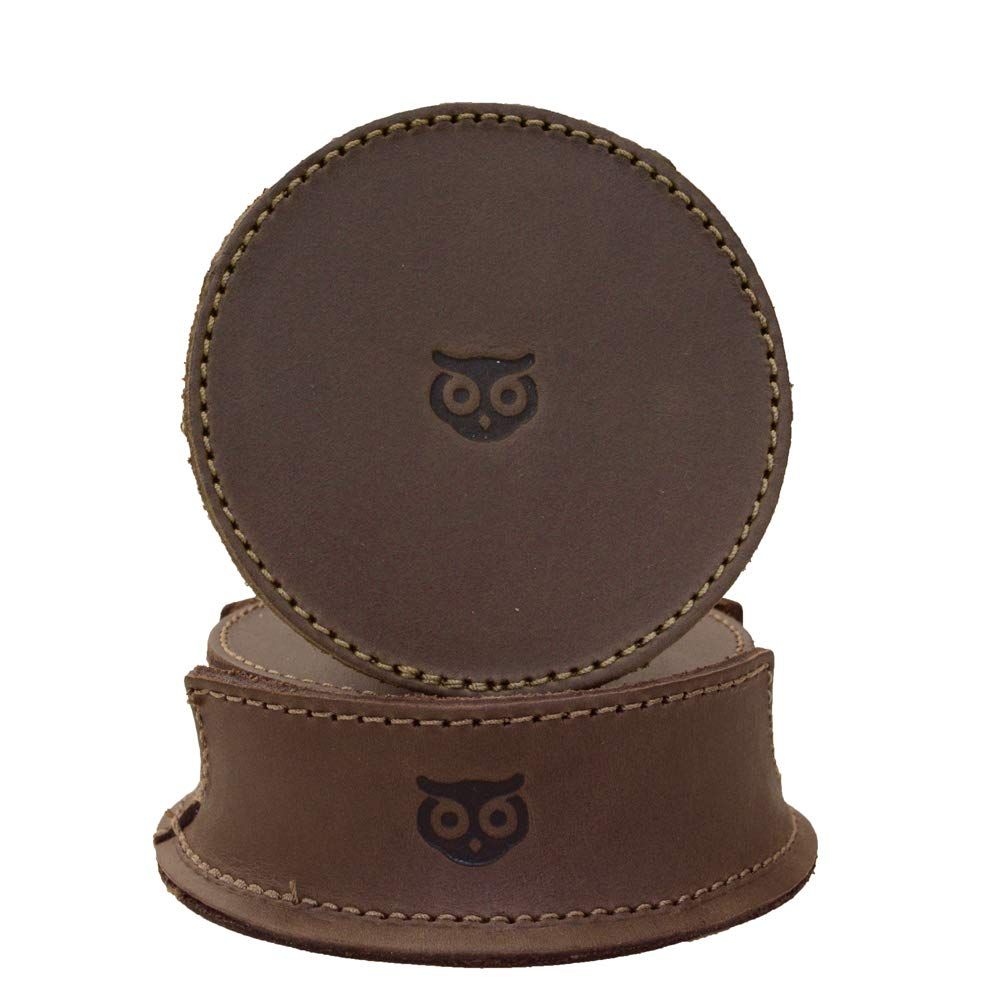 Hide & Drink Durable Thick Leather Owl Coasters with Stitching (6-Pack) Handmade Bourbon Brown by Hide & Drink