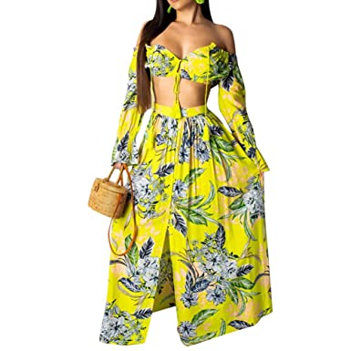 7fb2c58837 Womens 2 Piece Outfits Dress Sexy Summer Off Shoulder Crop Top and Slit  Maxi Skirt Set