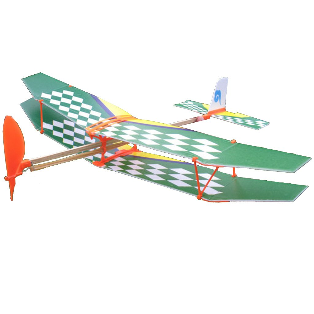 DIY Assembly Aircraft Aviation Model Planes Powered By Rubber Band Children Kids Outdoor Toy White & Green Generic STK0157001113