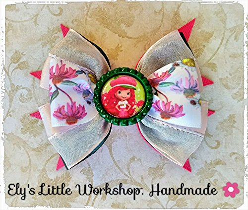 Strawberry Shortcake Hair Bow, 100% Handmade, French Barrette Clip 2