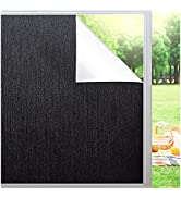 Blackout Window Film Sun Blocking Privacy Frosted Static Cling Window Tint Covering 100% Sun Ligh...