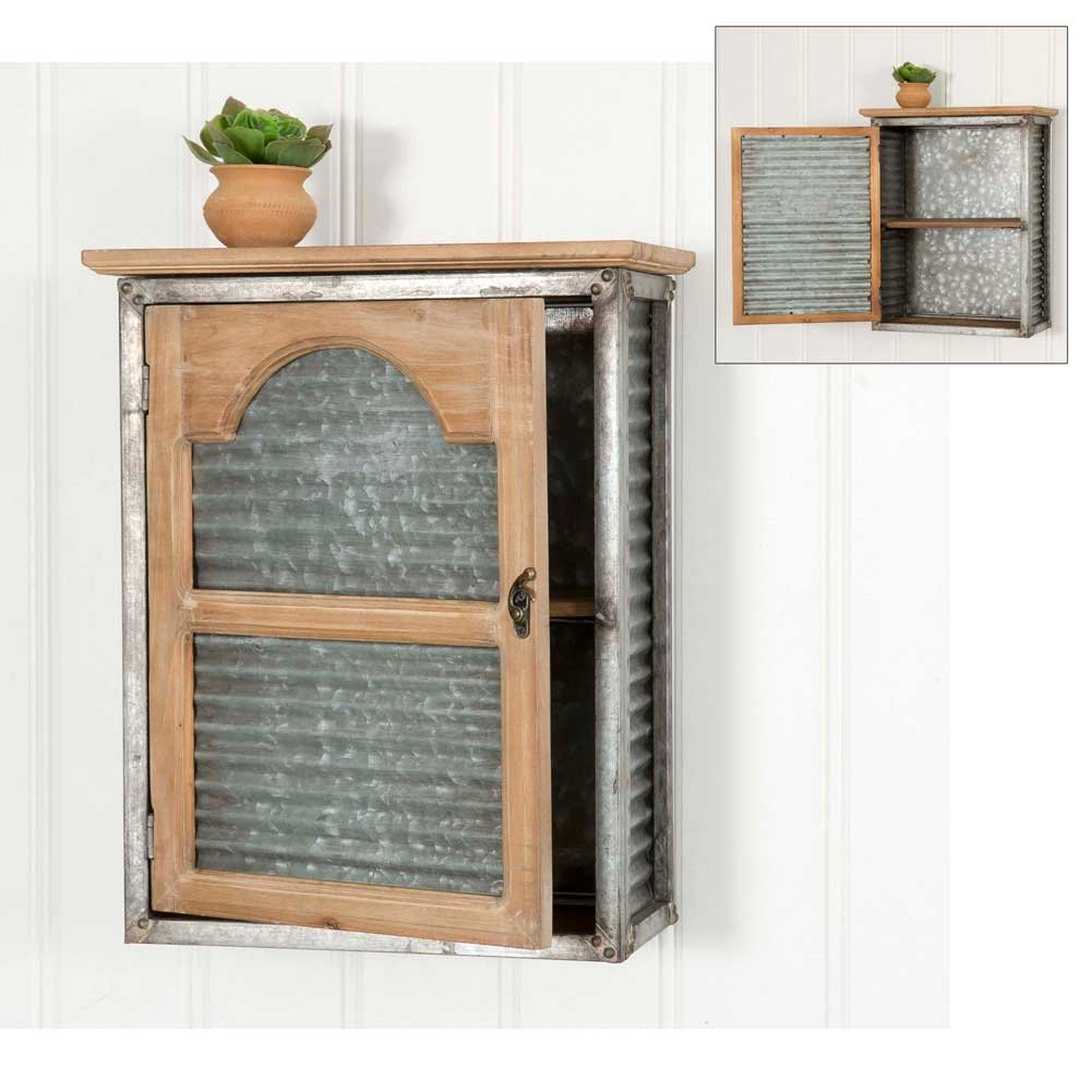 Rustic Metal and Wood Prestonville Cabinet