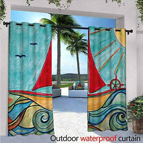 BlountDecor Art Balcony Curtains W72 x L96 Baby Boy Paintings Ship in The Waves of Ocean Sun Kids Girls Nursery Picture Outdoor Patio Curtains Waterproof with Grommets Teal Red Earth Yellow