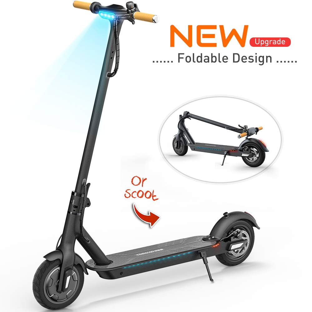 TOMOLOO Electric Scooter with Foldable Design, 18.6 Miles Long-Range, Up to 15.5 MPH, Commuting Scooter, Foldable and Portable E-Scooter with 8.5'' Air Filled Tires, Cruise Control