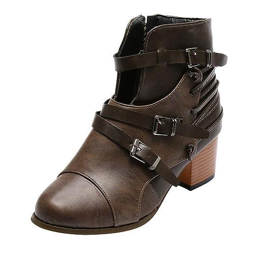 Tefamore Botines Mujer Tacon Alto, Cuero Botas 5.5cm Invierno Zapatos de Botas Combate Fiesta Hebilla y Cremallera Botas de Nieve Mujer: Amazon.es: Zapatos ...
