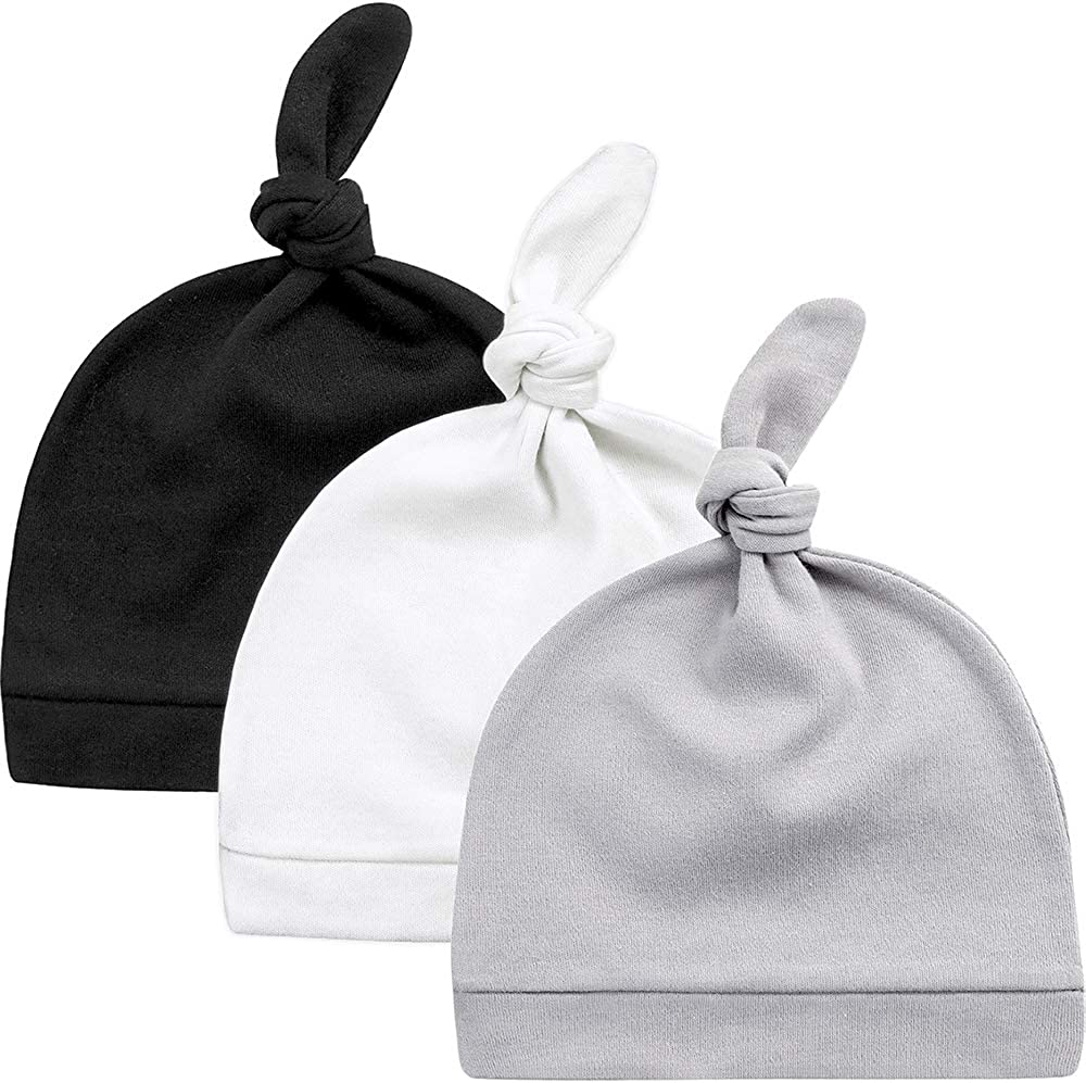 Solid Color Newborn Kids Cotton Cap Baby Knotted Hat Beanies Infant Sleep Hat