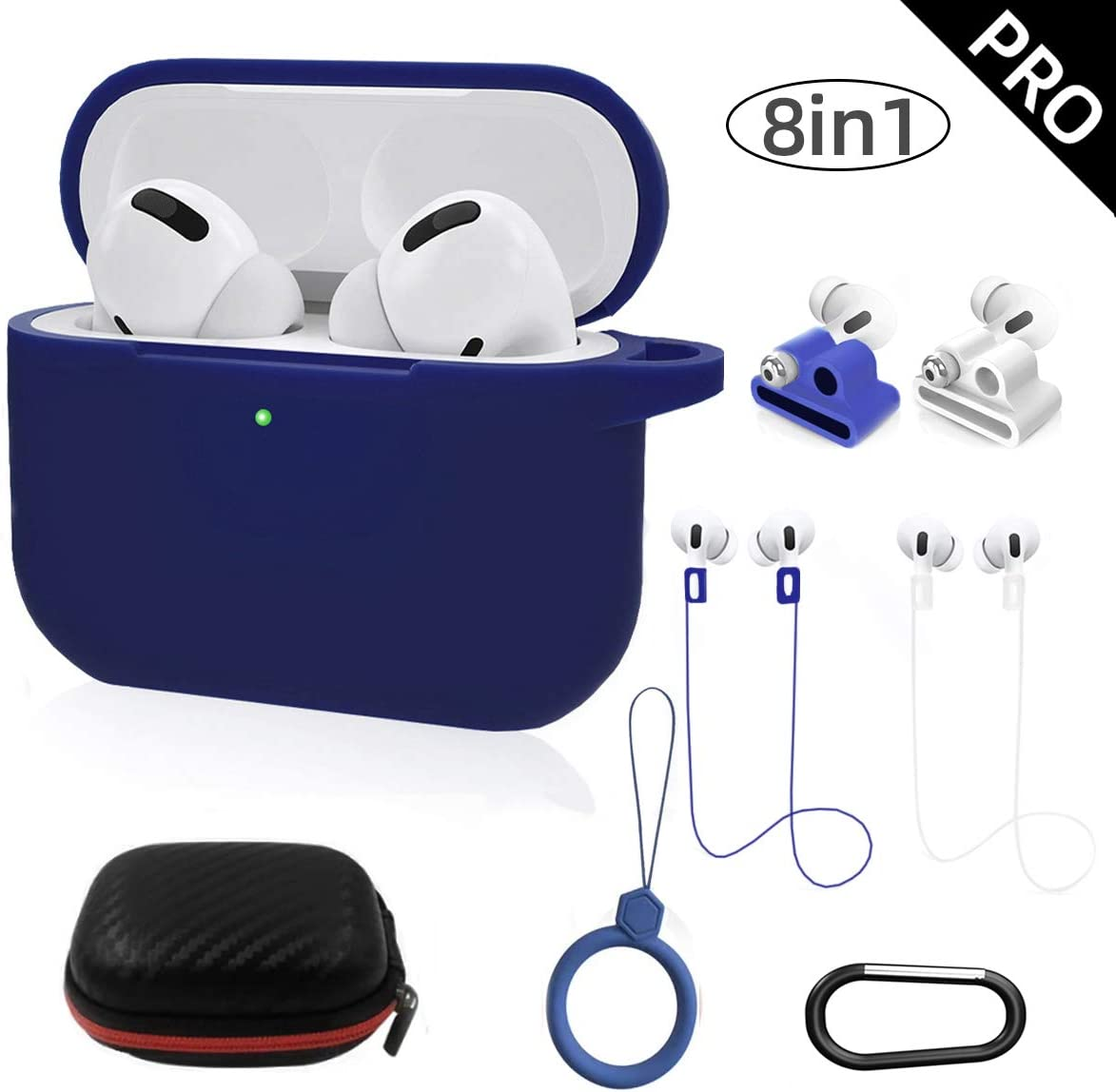Amazon Com Airpods Pro Case Cover Toluohu Airpods Pro Accessories 8 In 1 Kit Silicone Cover For Apple Airpod Gen3 With Ring Watch Band Airpods Pro Holder Keychain Carrying Box Blue