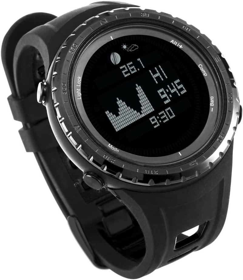 Mejor ES Digital deporte pesca reloj con funciones de altímetro, barómetro y marea | Pesca impermeable elegante y deportivo reloj con 12 funciones al aire libre esenciales de Express Panda